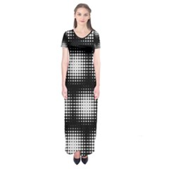 Black And White Modern Wallpaper Short Sleeve Maxi Dress by Simbadda