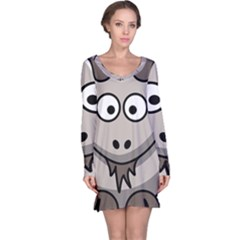 Goat Sheep Animals Baby Head Small Kid Girl Faces Face Long Sleeve Nightdress
