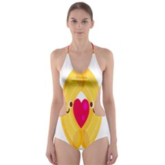 Say Pasta Love Cut Out One Piece Swimsuit by Alisyart