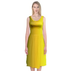 Yellow Gradient Background Midi Sleeveless Dress