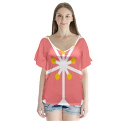Sakura Heart Guild Flower Floral Flutter Sleeve Top
