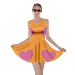 Smile Face Cat Orange Heart Love Emoji Skater Dress