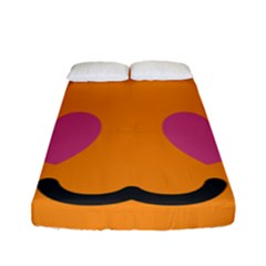Smile Face Cat Orange Heart Love Emoji Fitted Sheet (full/ Double Size) by Alisyart