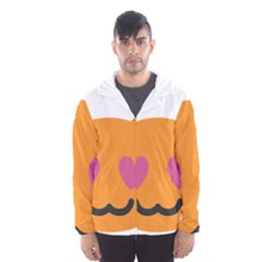 Smile Face Cat Orange Heart Love Emoji Hooded Wind Breaker (men)