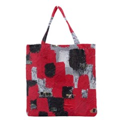 Red Black Gray Background Grocery Tote Bag by Simbadda