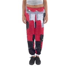 Red Black Gray Background Women s Jogger Sweatpants by Simbadda