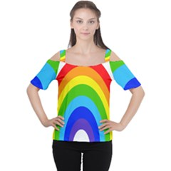Rainbow Women s Cutout Shoulder Tee by Alisyart