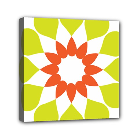 Tikiwiki Abstract Element Flower Star Red Green Mini Canvas 6  X 6