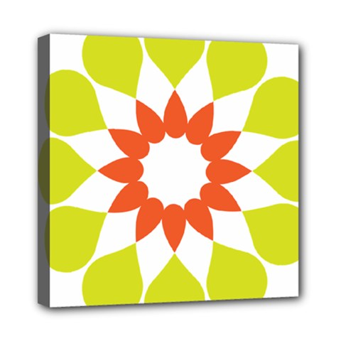 Tikiwiki Abstract Element Flower Star Red Green Mini Canvas 8  X 8
