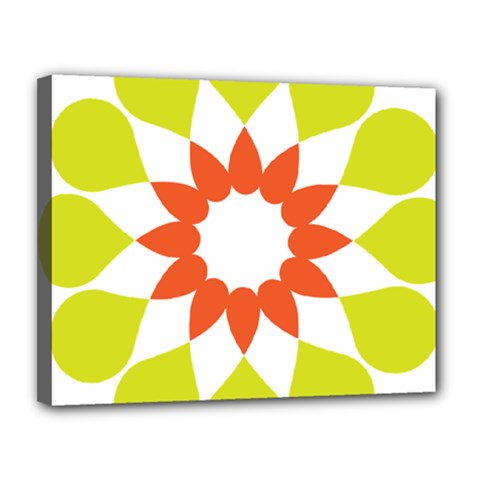 Tikiwiki Abstract Element Flower Star Red Green Canvas 14  X 11