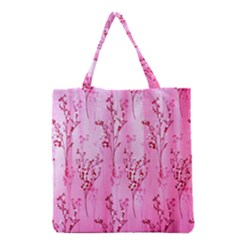Pink Curtains Background Grocery Tote Bag by Simbadda
