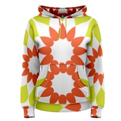 Tikiwiki Abstract Element Flower Star Red Green Women s Pullover Hoodie