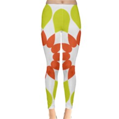Tikiwiki Abstract Element Flower Star Red Green Classic Winter Leggings by Alisyart