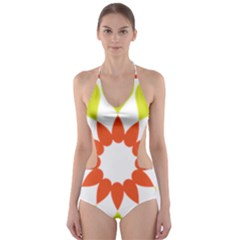 Tikiwiki Abstract Element Flower Star Red Green Cut Out One Piece Swimsuit by Alisyart