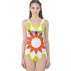 Tikiwiki Abstract Element Flower Star Red Green One Piece Swimsuit by Alisyart