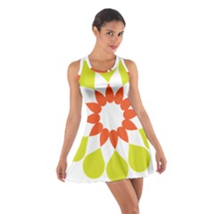 Tikiwiki Abstract Element Flower Star Red Green Cotton Racerback Dress