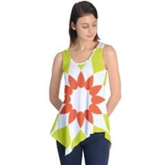 Tikiwiki Abstract Element Flower Star Red Green Sleeveless Tunic