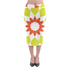 Tikiwiki Abstract Element Flower Star Red Green Midi Pencil Skirt by Alisyart