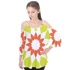 Tikiwiki Abstract Element Flower Star Red Green Flutter Tees by Alisyart