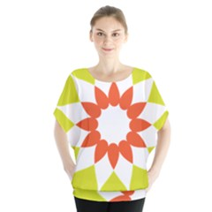 Tikiwiki Abstract Element Flower Star Red Green Blouse by Alisyart