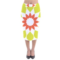 Tikiwiki Abstract Element Flower Star Red Green Velvet Midi Pencil Skirt by Alisyart