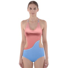Taekwondo Sign Red Blue Cut Out One Piece Swimsuit