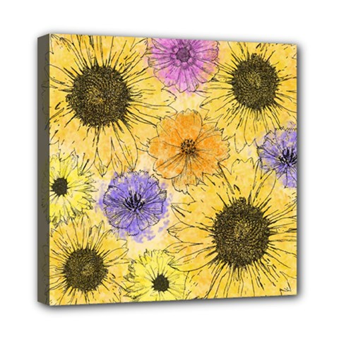 Multi Flower Line Drawing Mini Canvas 8  X 8  by Simbadda