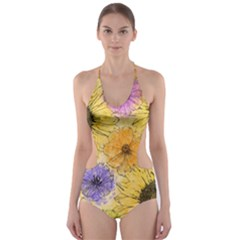 Multi Flower Line Drawing Cut Out One Piece Swimsuit by Simbadda