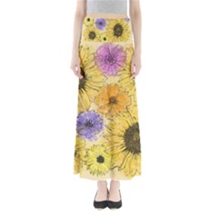 Multi Flower Line Drawing Maxi Skirts