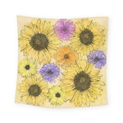 Multi Flower Line Drawing Square Tapestry (small)