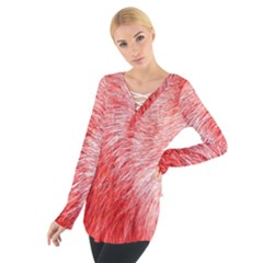 Pink Fur Background Women s Tie Up Tee by Simbadda