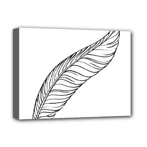 Feather Line Art Deluxe Canvas 16  X 12   by Simbadda