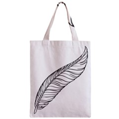 Feather Line Art Zipper Classic Tote Bag by Simbadda