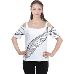 Feather Line Art Women s Cutout Shoulder Tee by Simbadda