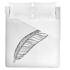 Feather Line Art Duvet Cover Double Side (queen Size) by Simbadda