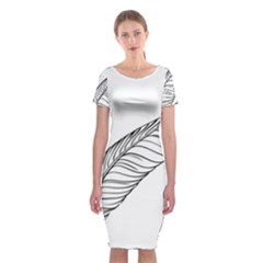 Feather Line Art Classic Short Sleeve Midi Dress