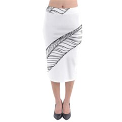 Feather Line Art Midi Pencil Skirt by Simbadda