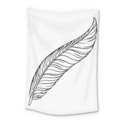 Feather Line Art Small Tapestry by Simbadda