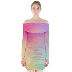 Colorful Long Sleeve Off Shoulder Dress by Wanni
