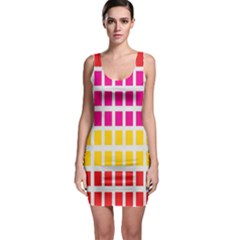 Squares Pattern Background Colorful Squares Wallpaper Sleeveless Bodycon Dress