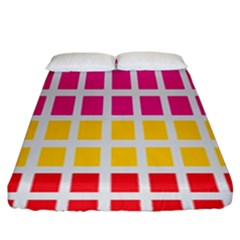Squares Pattern Background Colorful Squares Wallpaper Fitted Sheet (king Size) by Simbadda