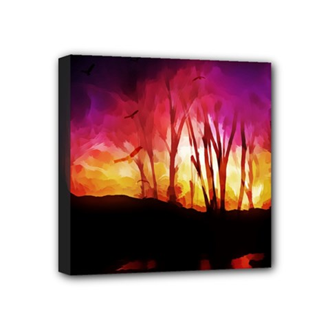 Fall Forest Background Mini Canvas 4  X 4  by Simbadda