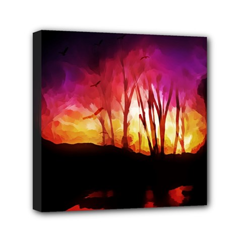 Fall Forest Background Mini Canvas 6  X 6  by Simbadda