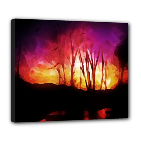 Fall Forest Background Deluxe Canvas 24  X 20   by Simbadda