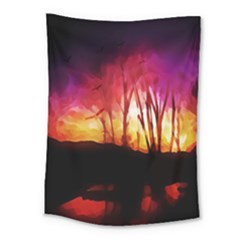Fall Forest Background Medium Tapestry by Simbadda