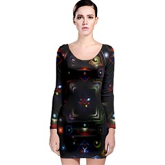 Geometric Line Art Background In Multi Colours Long Sleeve Bodycon Dress by Simbadda