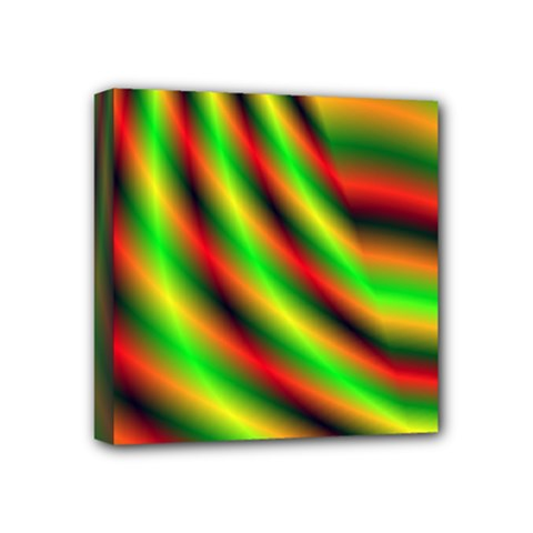 Neon Color Fractal Lines Mini Canvas 4  X 4