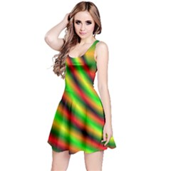 Neon Color Fractal Lines Reversible Sleeveless Dress