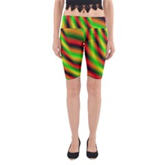 Neon Color Fractal Lines Yoga Cropped Leggings