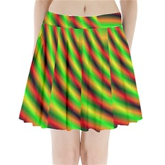 Neon Color Fractal Lines Pleated Mini Skirt by Simbadda